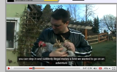 Chris Taylor talking to his chicken