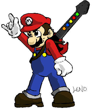 Mario with Rock Star Guitar