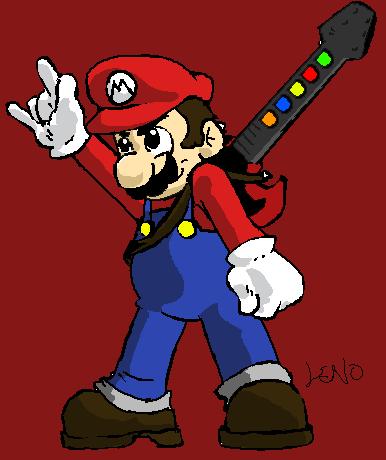 Mario with Rock Star Guitar