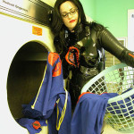 GI Joe COBRA Baroness cosplay girl doing laundry