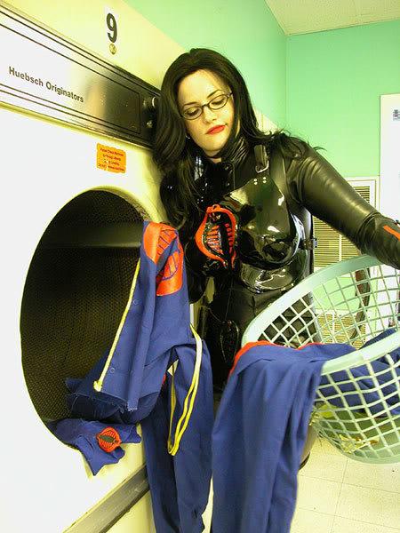 GI Joe COBRA Baroness cosplay girl doing laundry