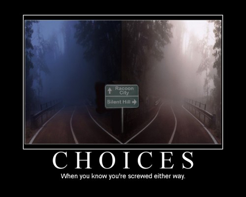 Choices demotivational poster