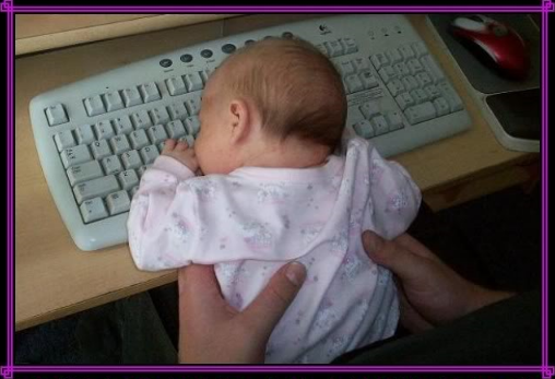 sleeping baby on keyboard