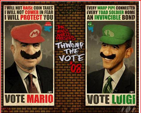 vote McCain Obama Super Mario Bros