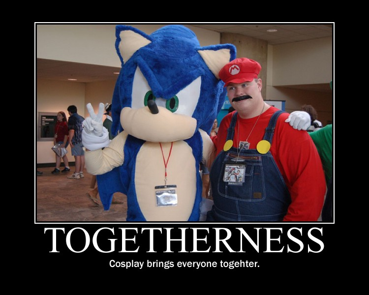 Togetherness sonic mario motivational poster
