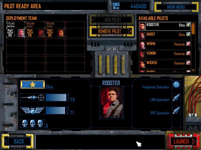 Mech Commander 2 Unit Selection Screen
