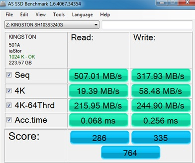 AS SSD Benchmark on the Kingston HyperX 3K Series 240GB SSD