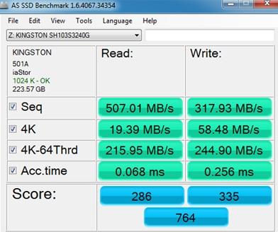 AS SSD Benchmark on the Kingston HyperX 3K Series 240GB SSD