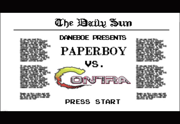 contra, paperboy, video game mashups, contra vs paperboy