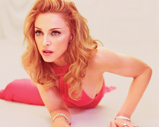 madonna in a red dress